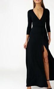 Lulu's Garden District black maxi wrap dress